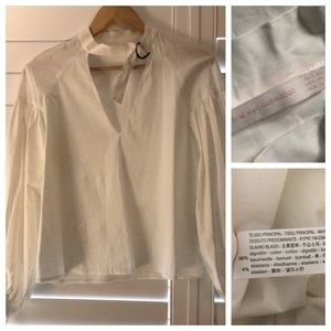 Trafaluc Collection White Cotton Blouse Buckles